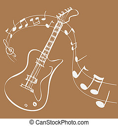 Guitar Melody - Vector illustration of Guitar Melody, simple...