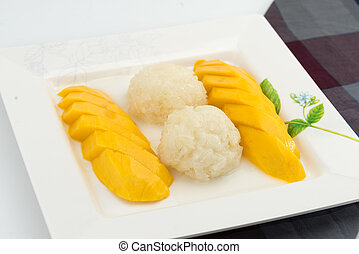 Sweet Sticky rice coconut milk with fresh mango - Sweet...