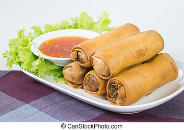 Fried Vegetable egg roll, spring roll, cabbage, silver...