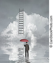Man in floood with ladder above