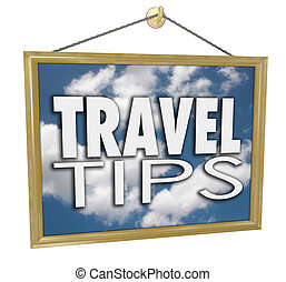Travel Tips Hanging Sign Agency Advice Helpful Information -...