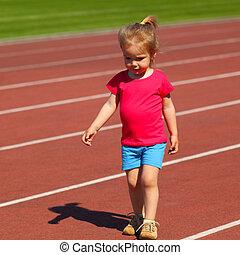 poco, niña, niño, implicado, atletismo,...