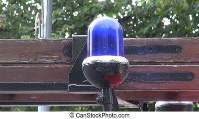 Blue flashing  lamp on car