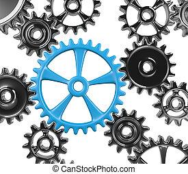 Synergy - Many Cogwheels Engaged 3D Illustration Isolated on...