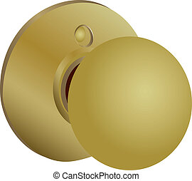 Round doorknob latch systems for a yellow hue. Vector...