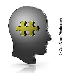 Head Puzzle - Metallic Human Head with Puzzle Piece...