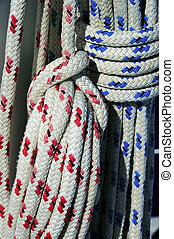 Blue and Red Ropes - A photo of blue and red boat ropes...