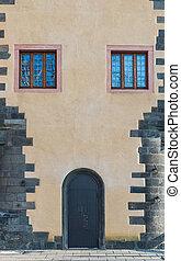 The metal door with glass window in european style