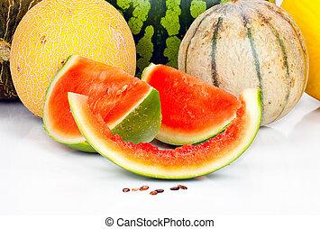 vario, Melones, pedazos