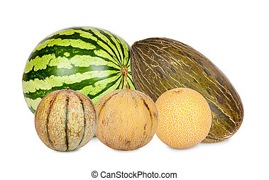 Five Different varieties of melons isolated on white...