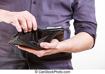 Empty wallet in male hands. Finance and poor economy. -...