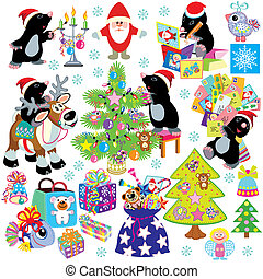 set mole and christmas - set with cartoon mole prepare the...