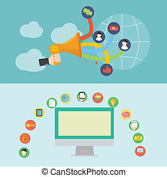 Element of social media icon in flat design