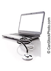 healthy hardware - laptop with a stethoscope for good...