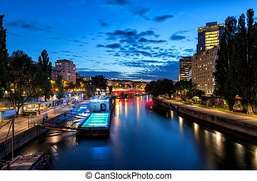 Boat on Danube Canal in Vienna - The Danube Canal bifurcates...