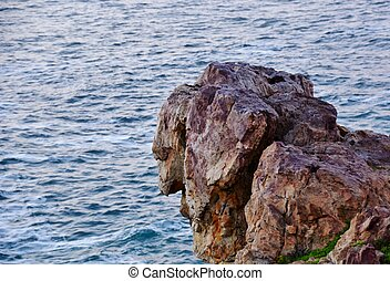 Lions head - Seascape with rock face lions head and ocean