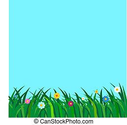 flowery meadow background illustrat - meadow flowery...