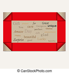 gift card red stripes vector