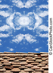 Beautyfull symmetrycal sky photographed on the roof