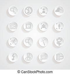 shadows button camera icons set