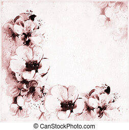 Retro greeting postcard with abstract peach flowers