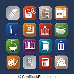 tools learning colorful icon set eps.10