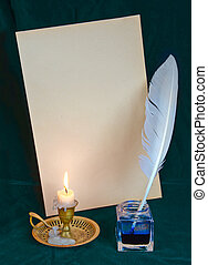 Cultural concept - White feather in the inkwell, burning...
