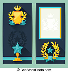 Certificate templates with awards in flat design style.