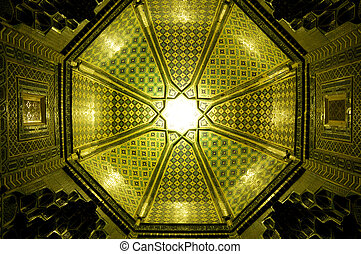 Ceiling in Samarkand - Sun shining though a green mosaic in...