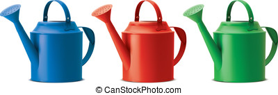 Watering cans set Isolated Vector illustration