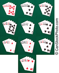 Poker Hands - The various poker hands ranging from royal...