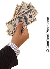 Dollar bills in the hand - businessman hand holding a lot of...