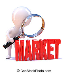 3d Little man studies the market - 3d render of a little...