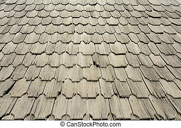 Old Wooden Roof Tiles Close Up