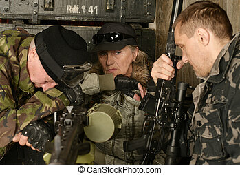 Armed combat soldiers thinking in ammunition close-up
