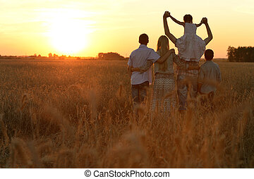 Family walking in field - Happy family walking in field and...