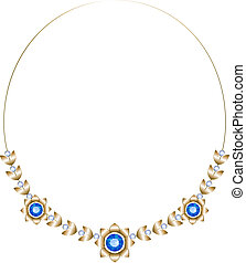Gold necklace consisting of three flowers and leaves with...