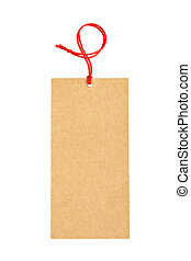 Black price tag - Price tag with red string, isolated on...