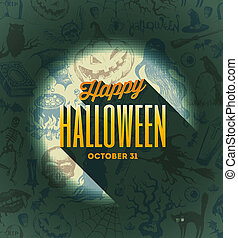 Halloween vector type design on a hand drawn background