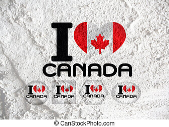 flag of Canada themes idea design on wall texture background...