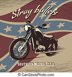 Retro motorcycle club poster - Vector illustration of...
