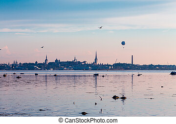 The Old Town, Tallinn - Evening scenic summer panorama of...