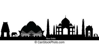 città, orizzonte,  Delhi,  India, nuovo