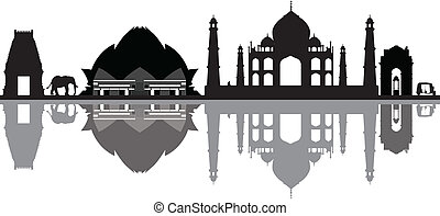 new delhi india skyline with elephants and monkey