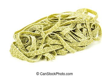 Bundle of dried ribbon pasta isolated over white background