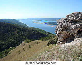 view of the Volga to the mountains in summer sunny day