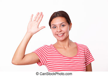 Friendly hispanic female with greeting hand
