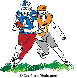 football players illustration