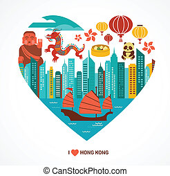 Hong Kong love background and vector illustration - Hong...