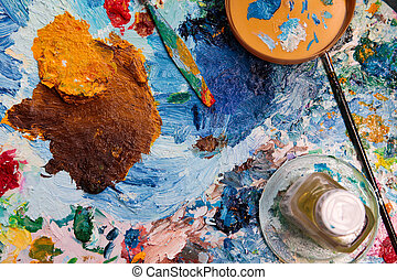palette - the background of the palette with  palette-knife